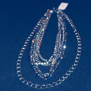 "5 Strand Gem, Rhinestone, Chains  19"" Necklace"